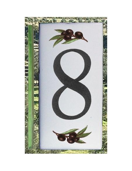 Numero de rue chiffre 8 décor brins d'olives