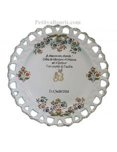 Assiette de Mariage modèle Tournesol inscription avec poème