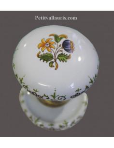 Bouton de placard ou de porte décor Tradition Vieux Moustiers polychrome(diamètre 50 mm) avec rosace