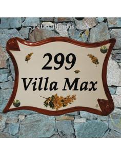Plaque céramique pour propriété modèle parchemin décor Les Mimosas bord de couleur ocre