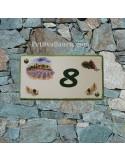 Plaque de Maison rectangle décor mas provençal cigale et pomme de pin inscription personnalisée bord verte