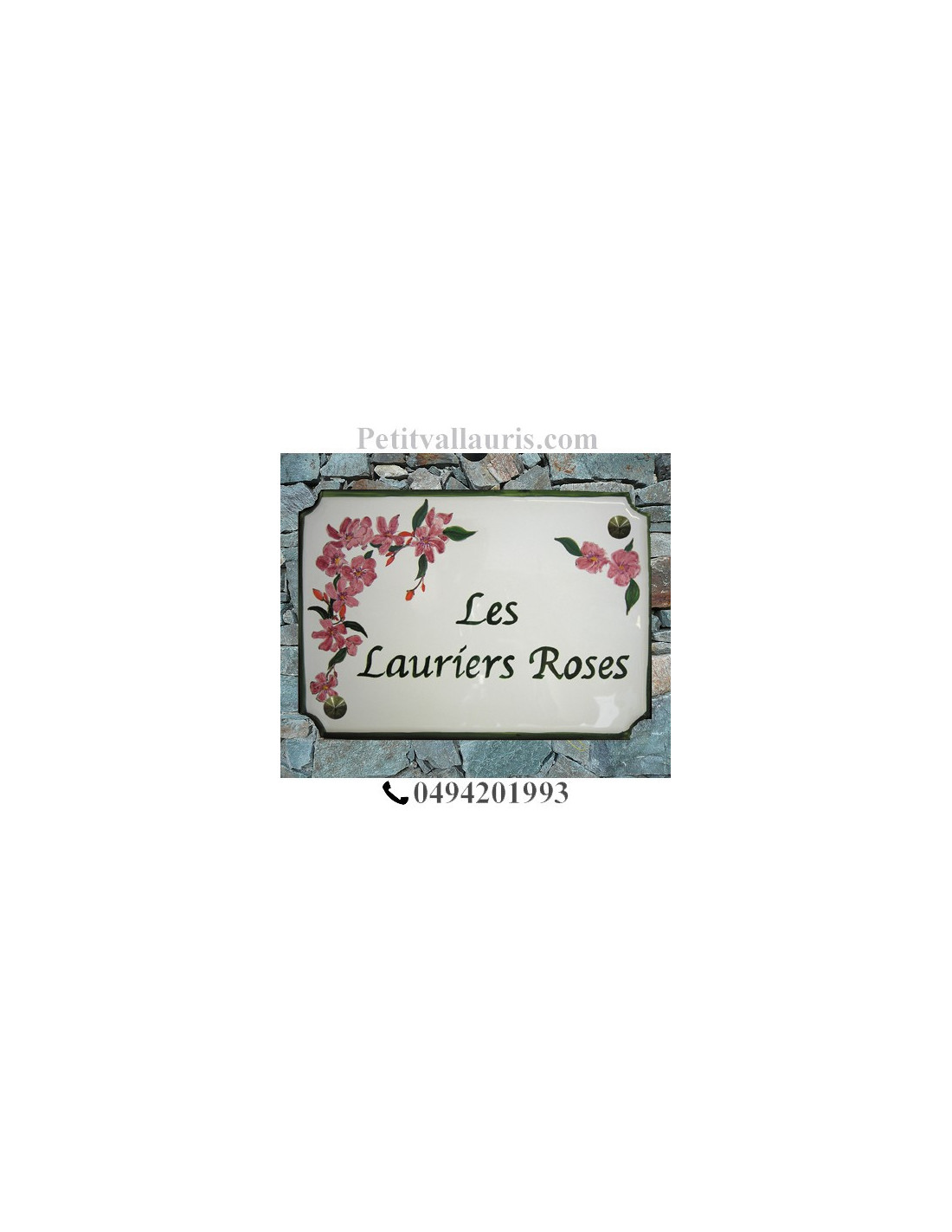 grande plaque de maison en faience maill e mod le angles incurv s motif artisanal laurier rose. Black Bedroom Furniture Sets. Home Design Ideas