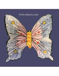 Papillon en céramique à suspendre mauve et bleu