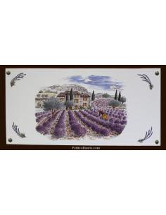 Fresque céramique rectangulaire décor récolte des lavandes