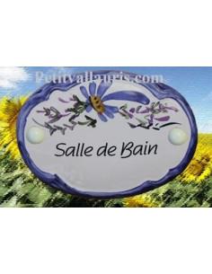 """Plaque de porte Ovale fleur bleue """"Salle de bain"""""""