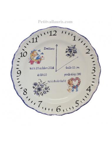 Assiette de naissance Louis XV décor bleu modèle garçon