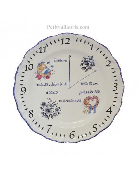 Assiette de naissance avec gravure personnalisée en faience modèle garçon