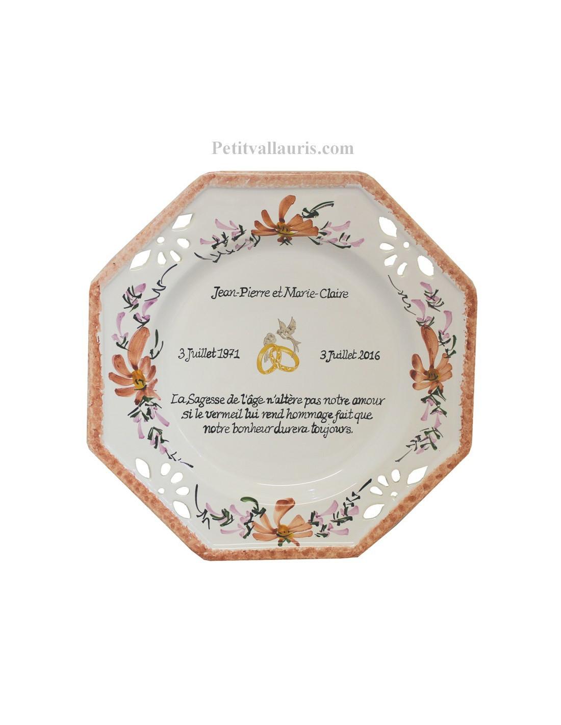 Assiette de mariage octogonale d cor fleurs saumons avec for Assiette de decoration
