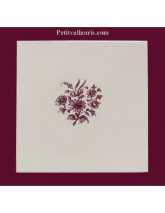Carreau Bouquet de fleurs décor Tradition Vieux Moustiers rose
