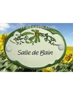 """Plaque de porte Ovale fleur verte """"Salle de bain"""""""