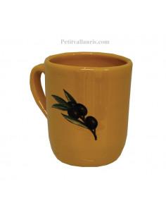 Chope - Mug couleur jaune provençal et décor olives noires prénom + personnalisé