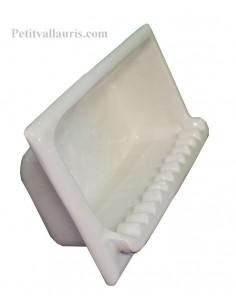 Porte savon en faience modèle rectangle à encastrer uni blanc brillant ou blanc cassé ivoire