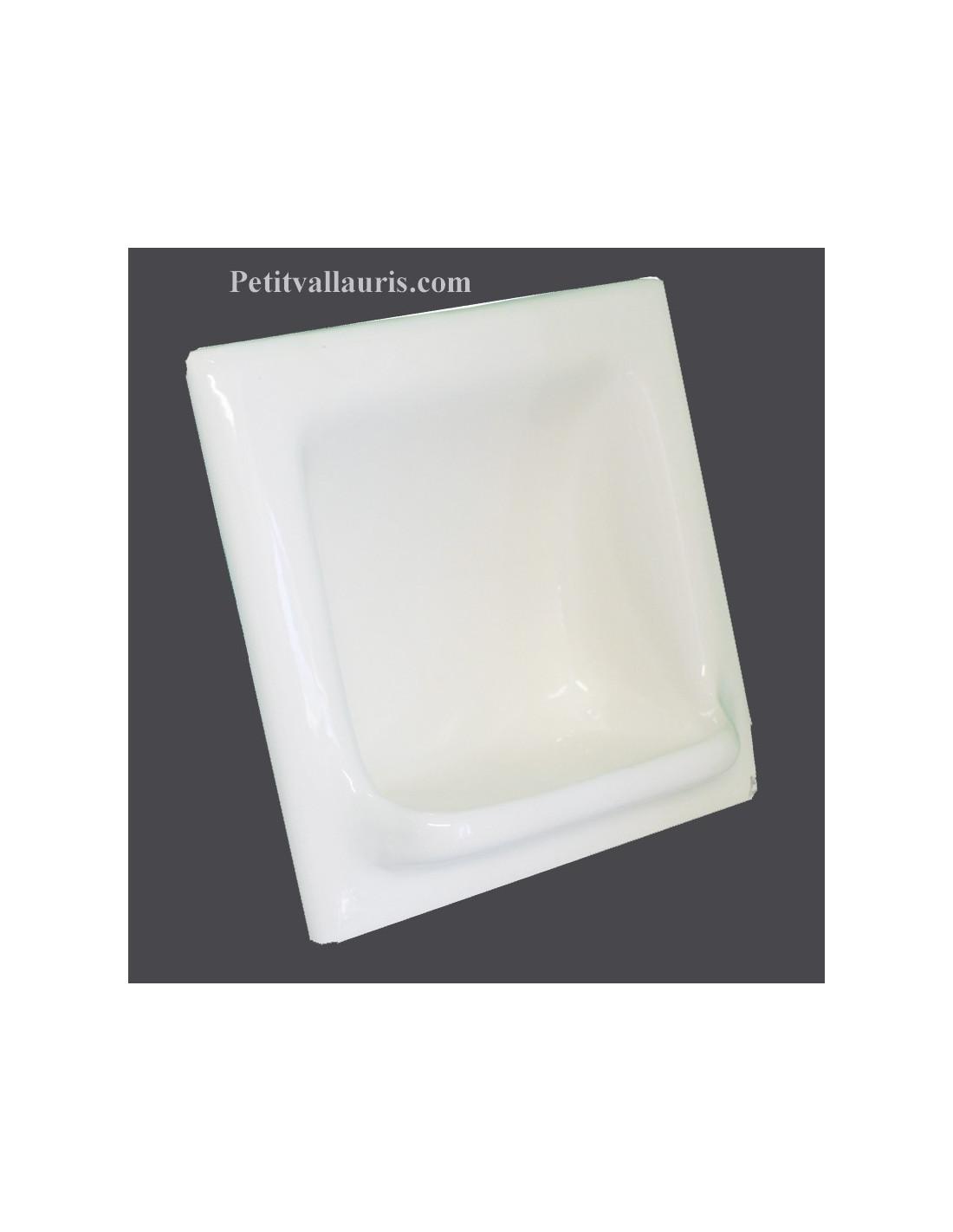 Porte savon en faience mod le carr encastrer maill uni blanc brillant le petit vallauris - Porte savon mural ceramique ...