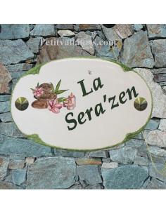 Plaque pour nom de maison ovale en céramique décor ambiance zen