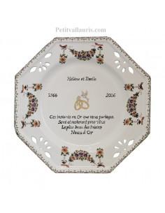 Assiette de Mariage octogonale décor tradition vieux moustiers poly. Poème noces d'or