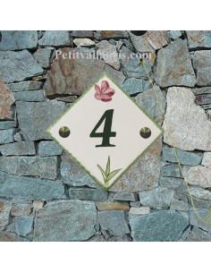 Numéro de maison décor brin de muguets pose horizontale