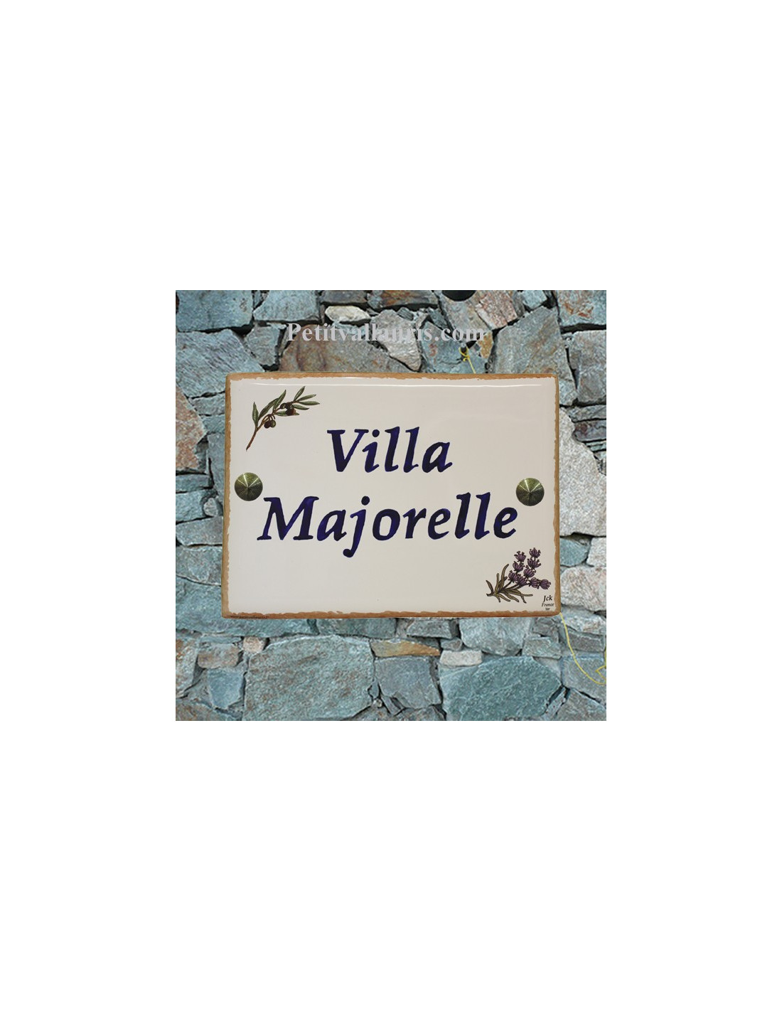 plaque de maison en c ramique d cor brins d 39 olives et de lavandes bord ocre jaune inscription. Black Bedroom Furniture Sets. Home Design Ideas