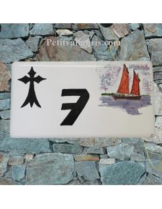 Plaque de Maison rectangle décor hermine breton + voilier sinagot
