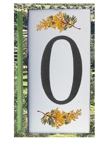 Numero de rue chiffre 0 décor brins de mimosas