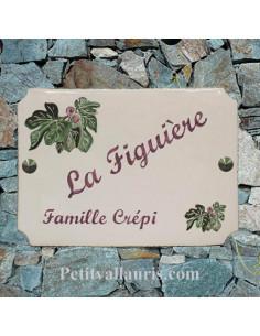 Plaque de maison émaillée de style en céramique décor Pomme et Pommier
