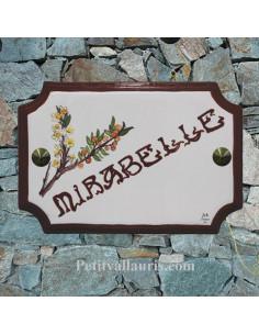 Plaque de Maison en céramique décor personnalisé mirabelles inscription rouge foncé