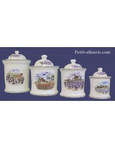 Série de Pot de cheminée rond décor paysage Provençal