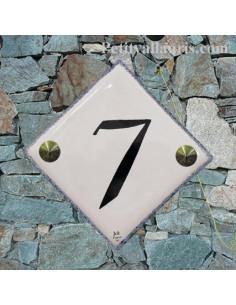 Numéro de maison en faience personnalisée chiffre ou lettre noire et bord gris