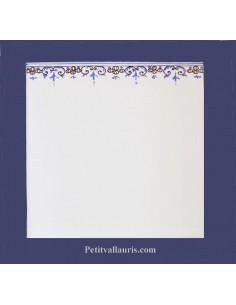 Carreau blanc avec frise droite bleue décor Tradition Vieux Moustiers