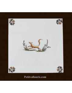 Carreau avec décor musicien 2211 polychrome Tradition Vieux Moustiers