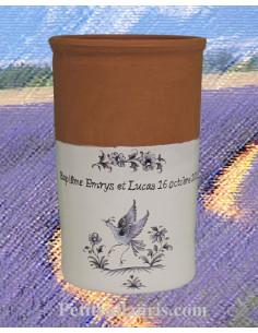 Brique à vin décor Tradition Vieux Moustiers bleu motif oiseau ref 5204 avec possibilité inscription