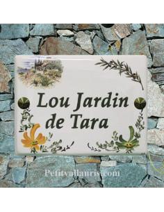 plaque de maison céramique décor bastide provençale + brins d'olivier + fleurs + oranges + vertes