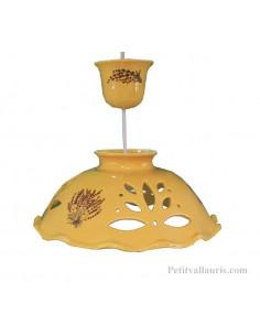 Suspension en céramique ajourée fond jaune décor Lavande D33