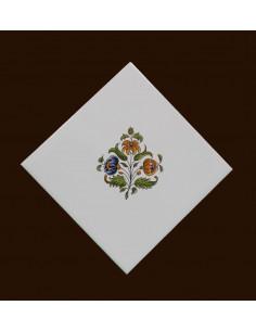 Carreau fleur médium polychrome décor Tradition Vieux Moustiers pose horizontale