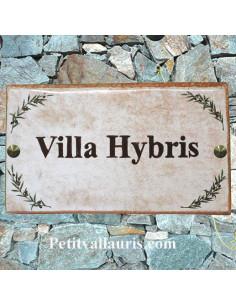 Plaque de maison ceramique 20 x 33 décor brins d'olives fond beige