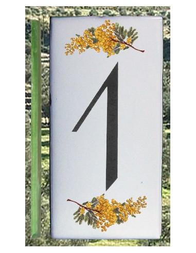 Numero de rue chiffre 1 décor brins de mimosas