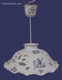 Suspension décorative céramique décor Tradition Vieux Moustiers bleu D37