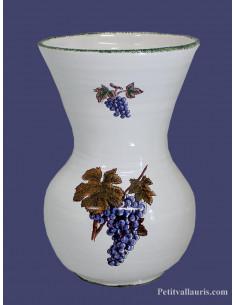 Vase Nadine en faïence décor Grappe de raisin taille 2