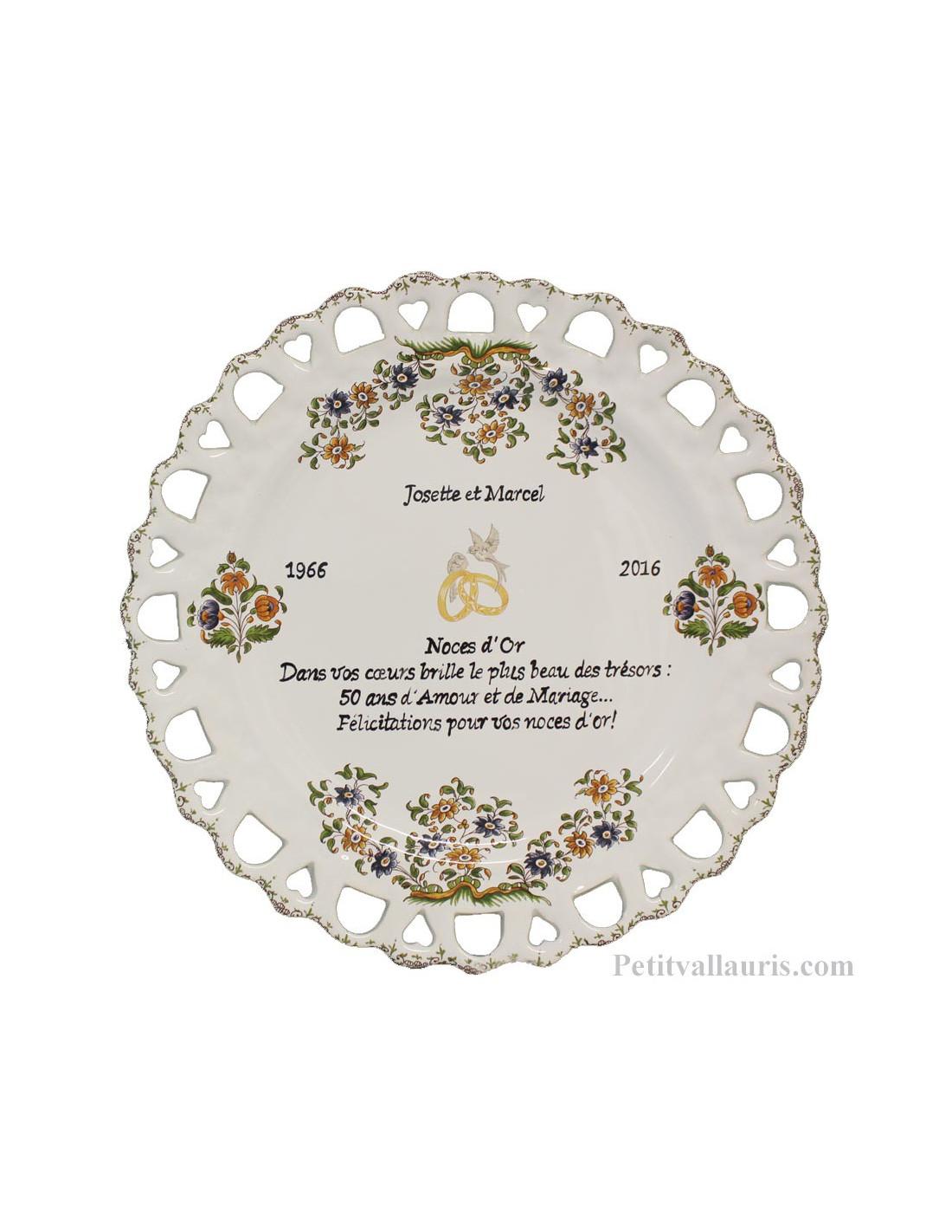 Assiette de mariage mod le tournesol inscription pr sent e avec citation noces d 39 or modifiable - Cadeau 50 ans de mariage noces d or ...
