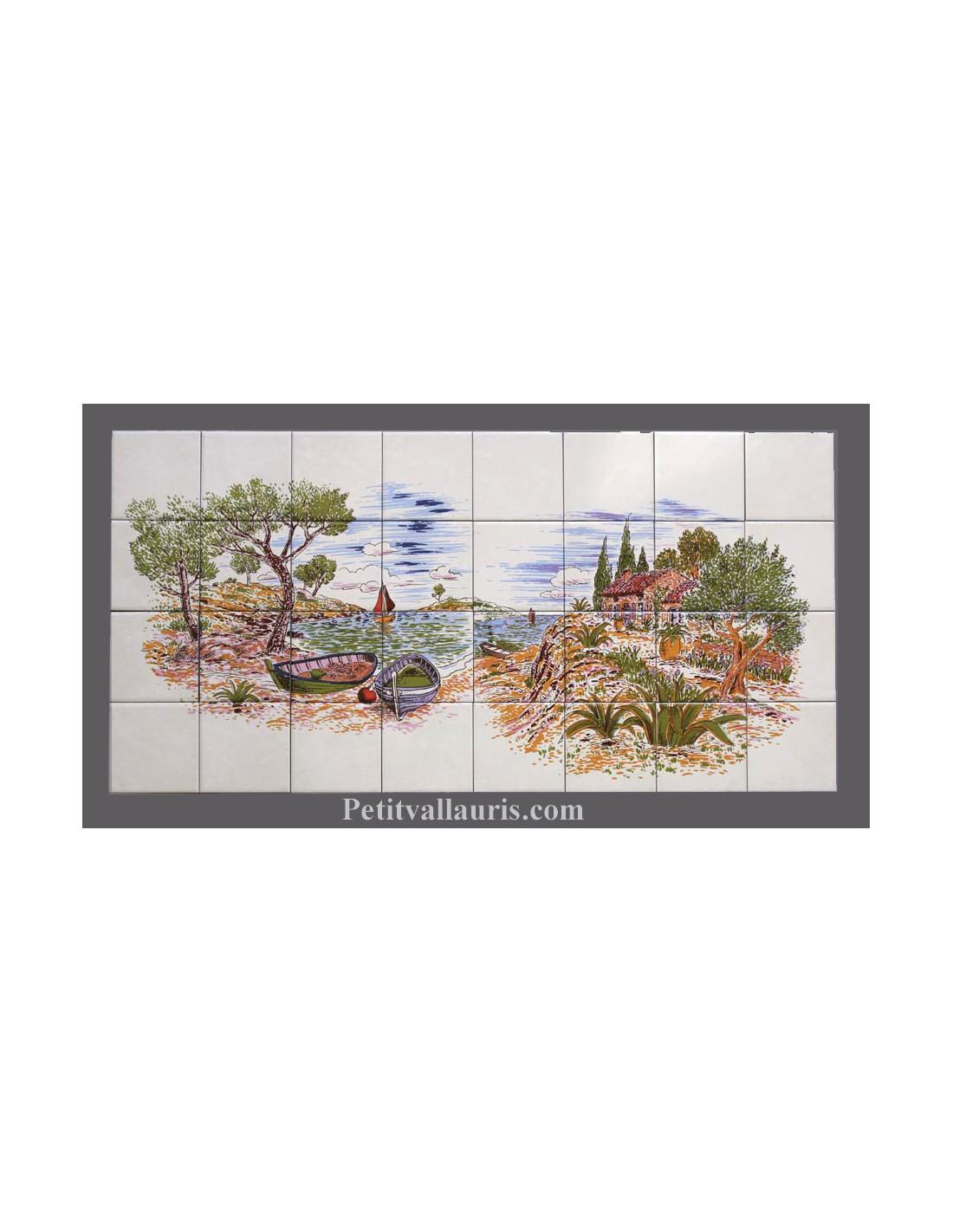 Fresque c ramique rectangulaire d cor bord de mer le for Decoration murale rectangulaire