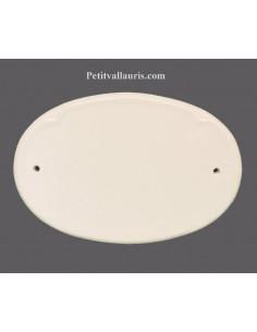 Plaque de porte ovale en céramique unie blanche