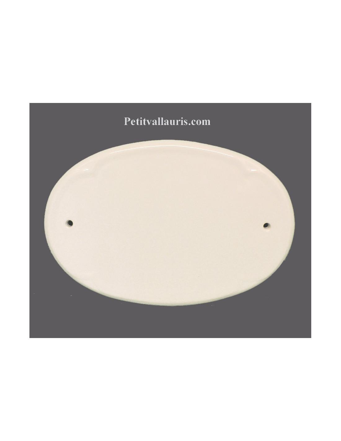 Plaque de porte ovale en c ramique unie blanche le petit vallauris - Adresse mail reclamation blanche porte ...