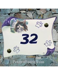 Plaque de maison en faience modèle parchemin motif chat Sibérien + inscription personnalisée