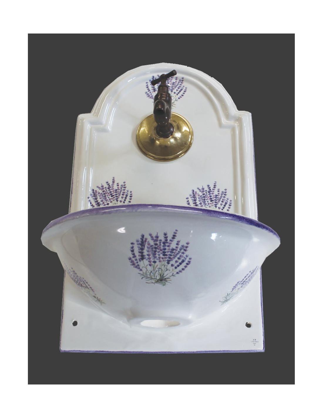 Petite fontaine murale en c ramique blanche d cor bouquets for Ceramique murale blanche