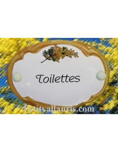 Plaque de porte ovale Toilettes brin de mimosas