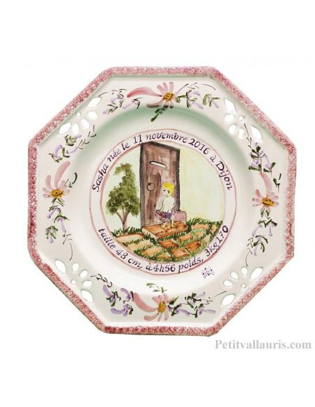 Assiette de naissance octogonale ajourée Naissance coloris rose pour petite fille