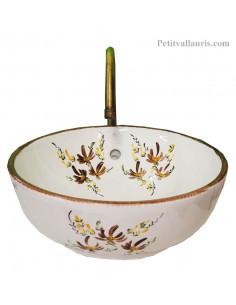 Vasque bol ronde lave main en porcelaine décor fleurs beiges saumon
