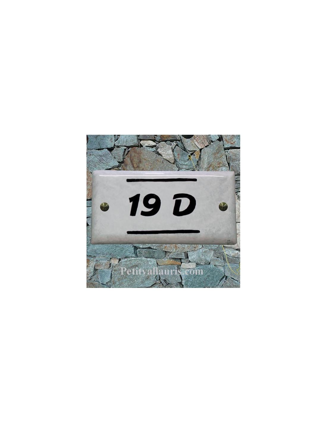 plaque num ro de maison faience maill e couleur fond gris clair inscription personnalis e noire. Black Bedroom Furniture Sets. Home Design Ideas
