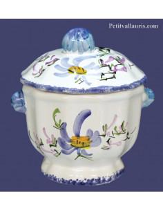 Sucrier confiturier décor Fleuri bleu