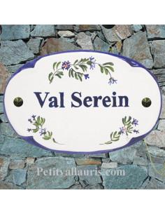 Plaque pour entrée de maison ovale en céramique décor Bleuets