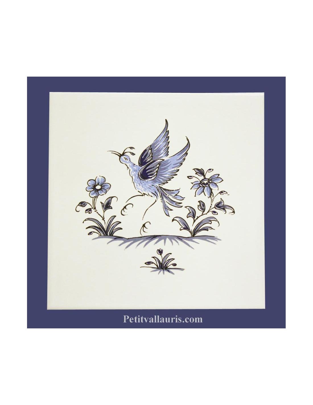 Carrelage mural pour cuisine et salle de bain au d cor oiseau de paradis inspiration moustiers bleu - Decor mural salle de bain ...